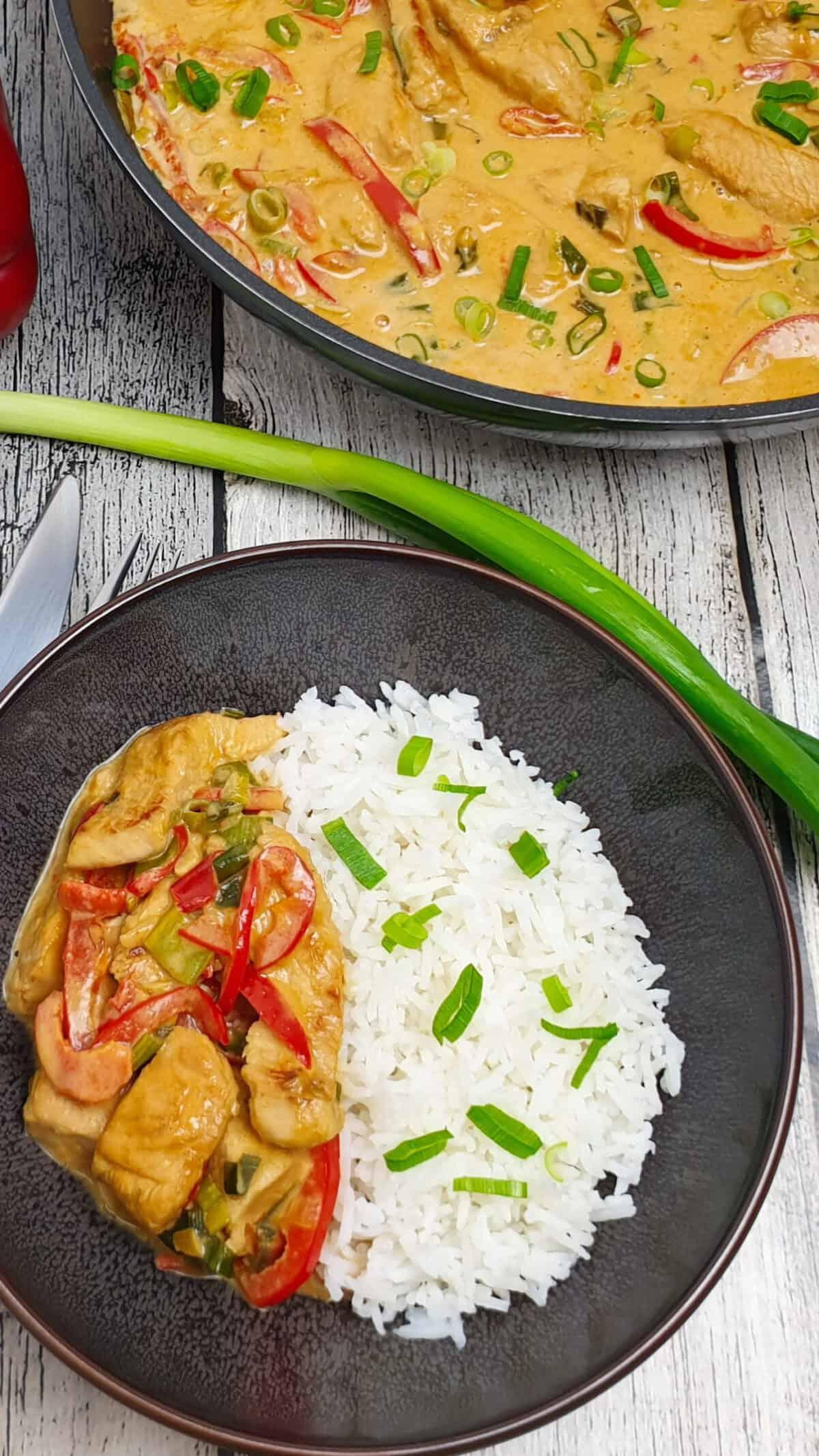 In einer braunen Schale Puten-Curry mit Gemüse und Basmati Reis mit Lauch bestreut.