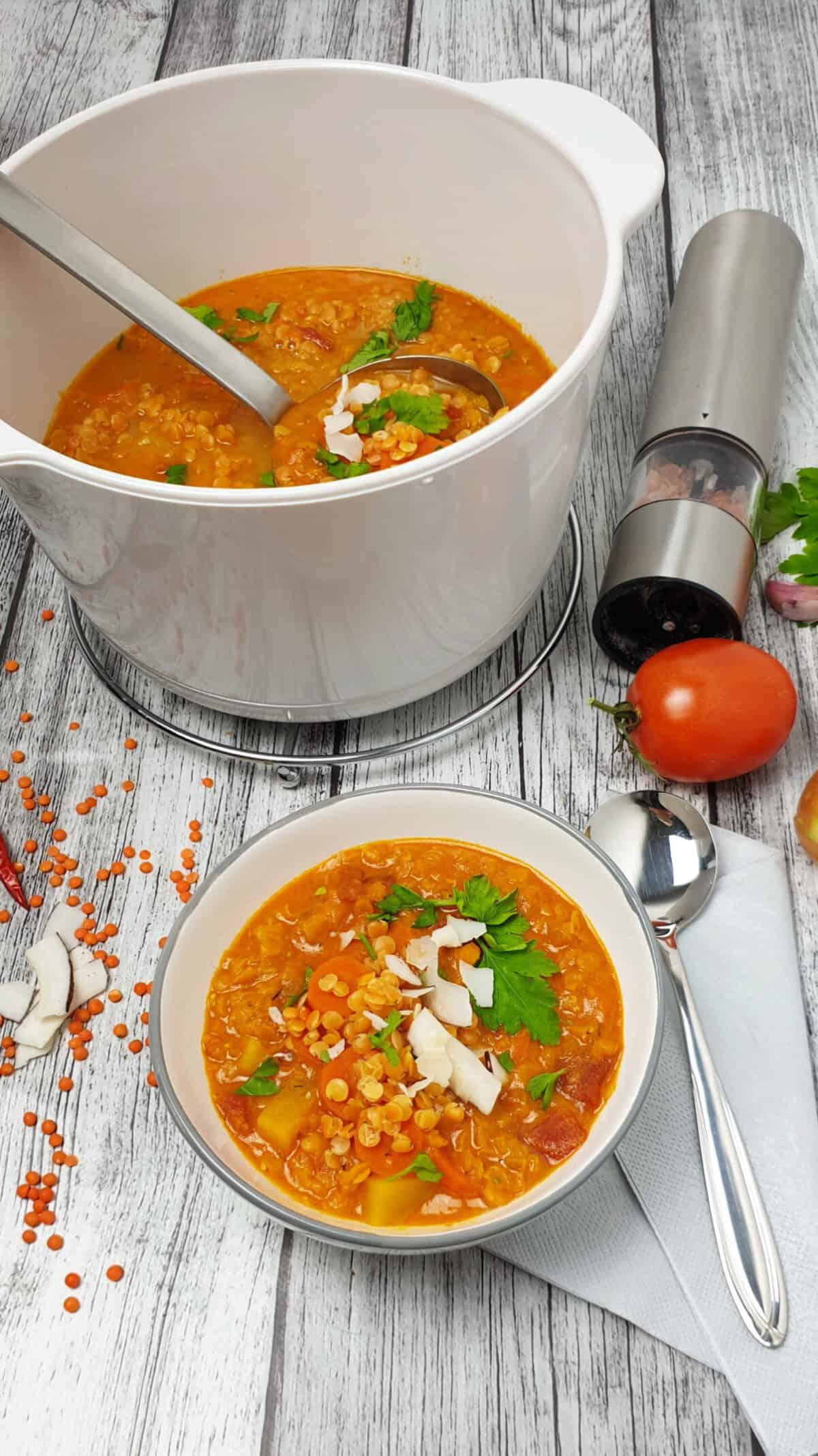 In einer weißen Schale eine rote Linsen-Suppe mit Kokosmilch. Angerichtet mit Kokos Chips und Petersilie.