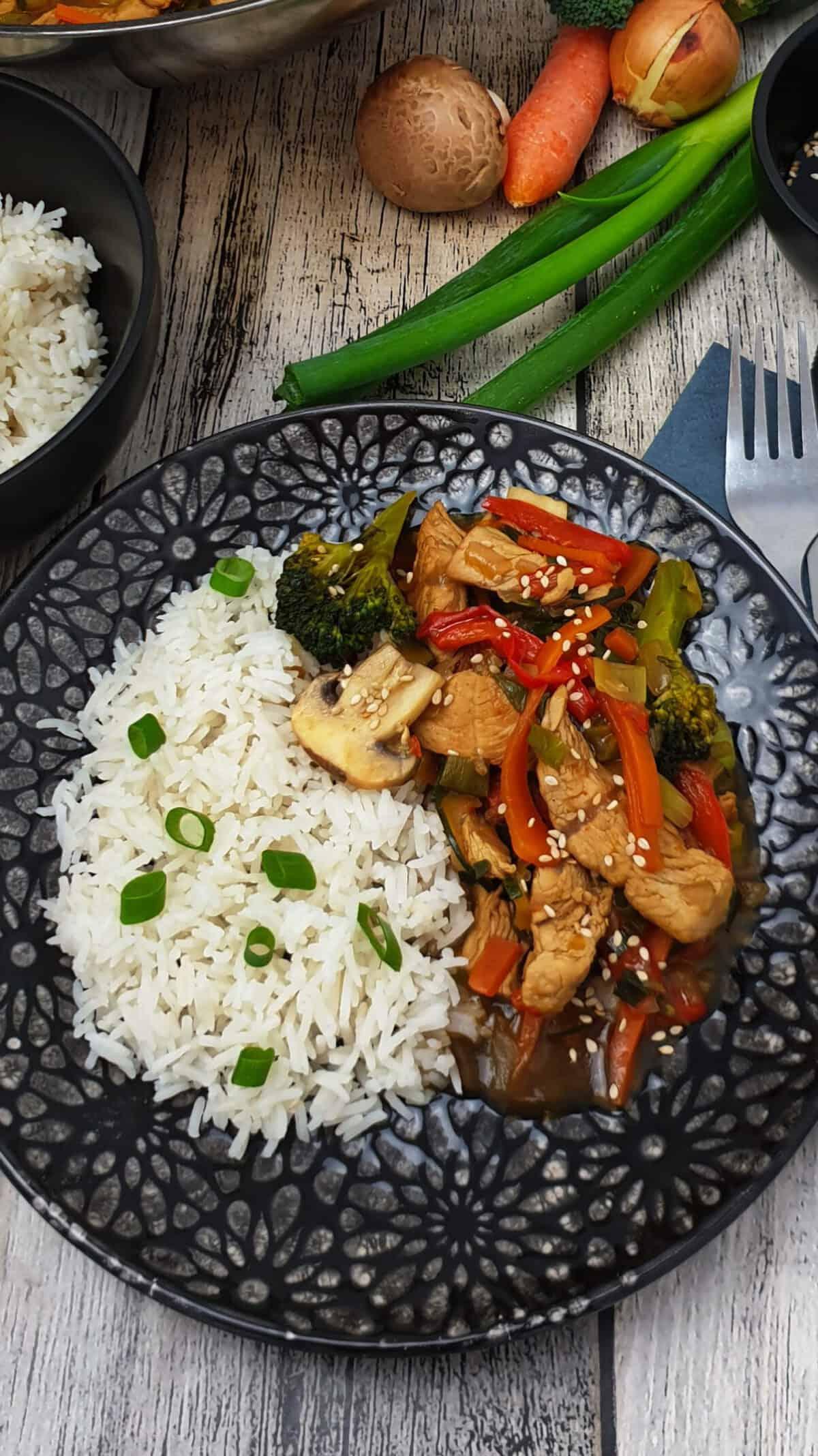 Auf einem dunklen Teller angerichtet Reis mit Shop Suey. Im Hintergrund Deko.
