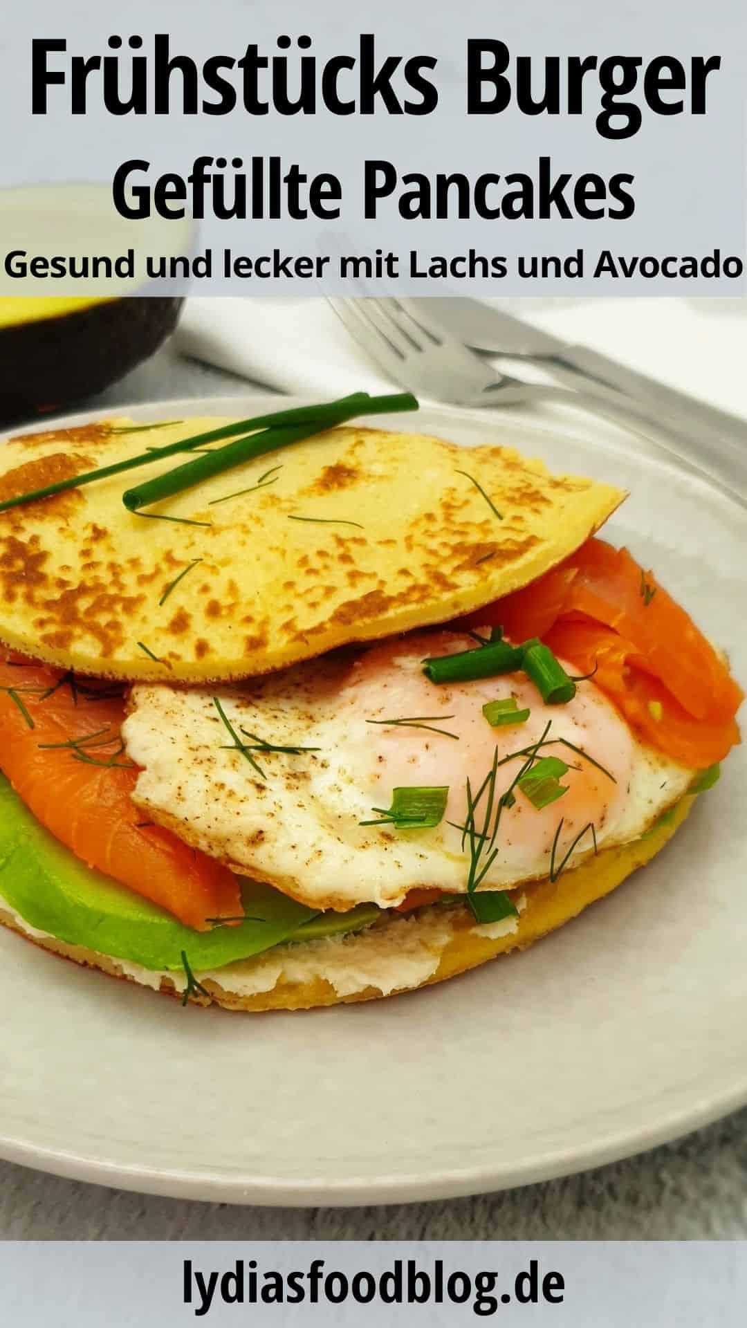 Pancake Burger mit Lachs und Avocado auf einem grauen Teller serviert.