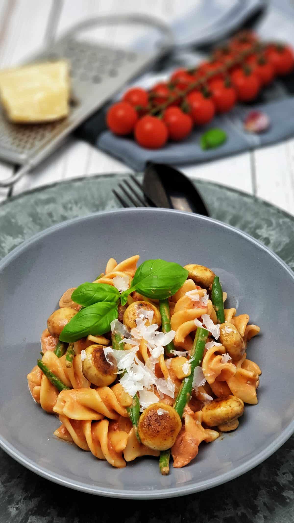 Nudeln mit Tomaten-Frischkäse-Soße in einer grauen Schale angerichtet. Mit Parmesan bestreut und mit Basilikum serviert.