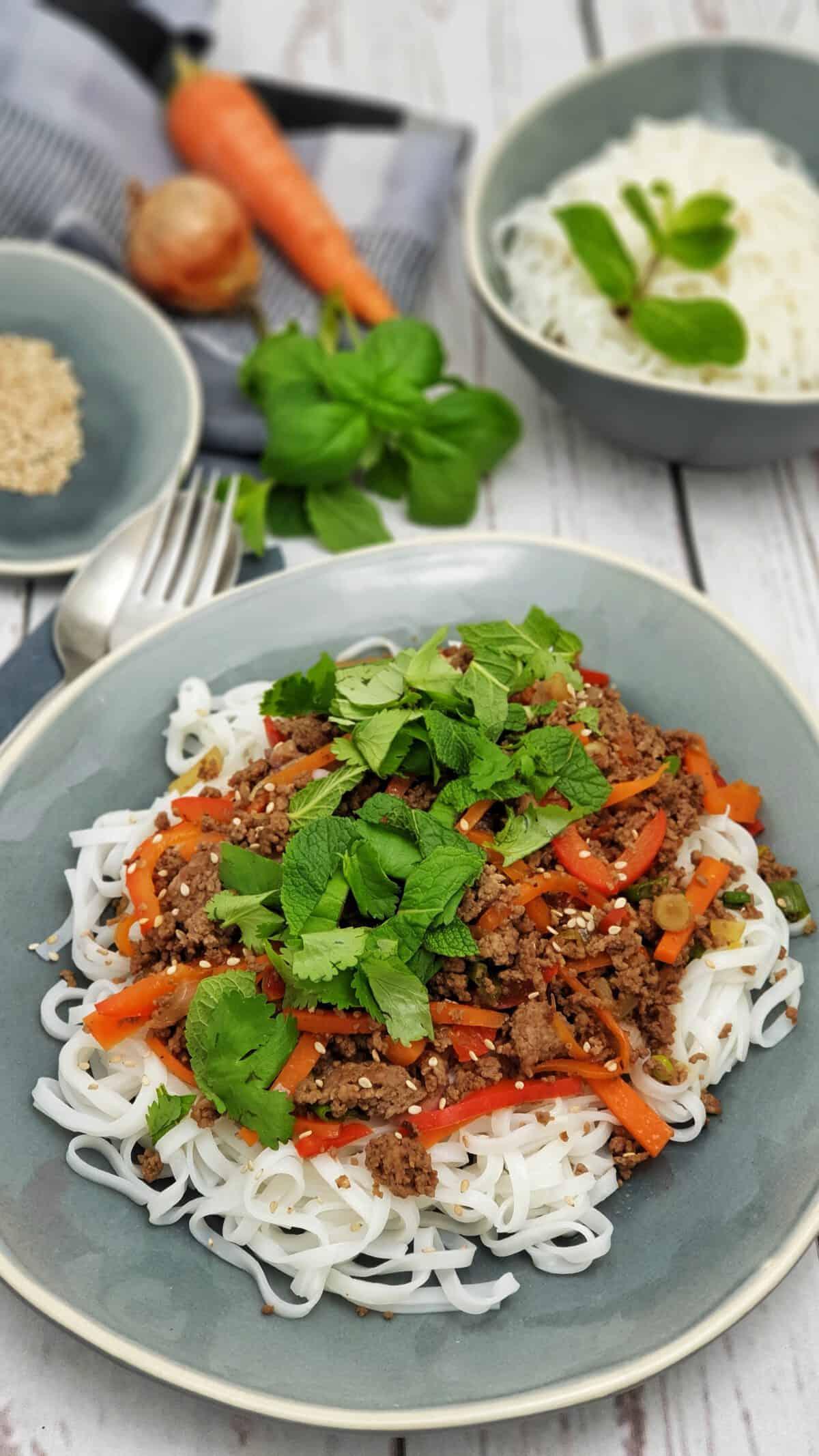 Auf einer graublauen Platte angerichtet Asiatische Reisnudeln mit Hackfleisch. Im Hintergrund Deko.