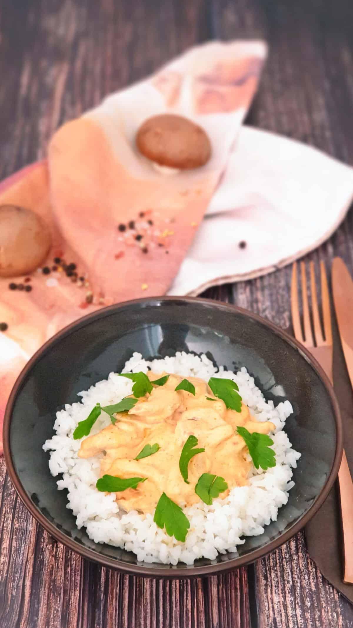 Reis mit Gyros-Metaxa Soße in einer braunen Schale angerichtet.