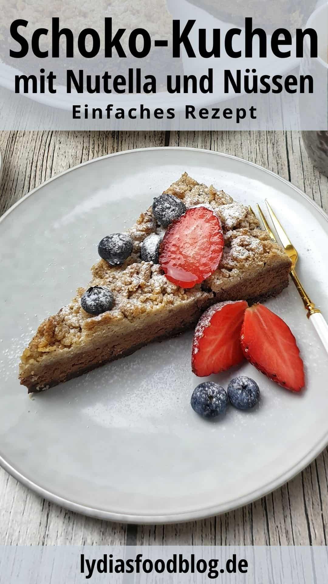 Ein Stück Schoko-Kuchen auf einem hellen Teller mit frischen Beeren garniert.