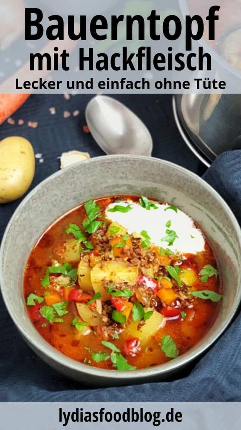 Eine Schale mit einem Bauerntopf Eintopf dekorativ fotografiert. Im Hintergrund sieht man das verwendete Gemüse, wie Möhre und Kartoffeln.