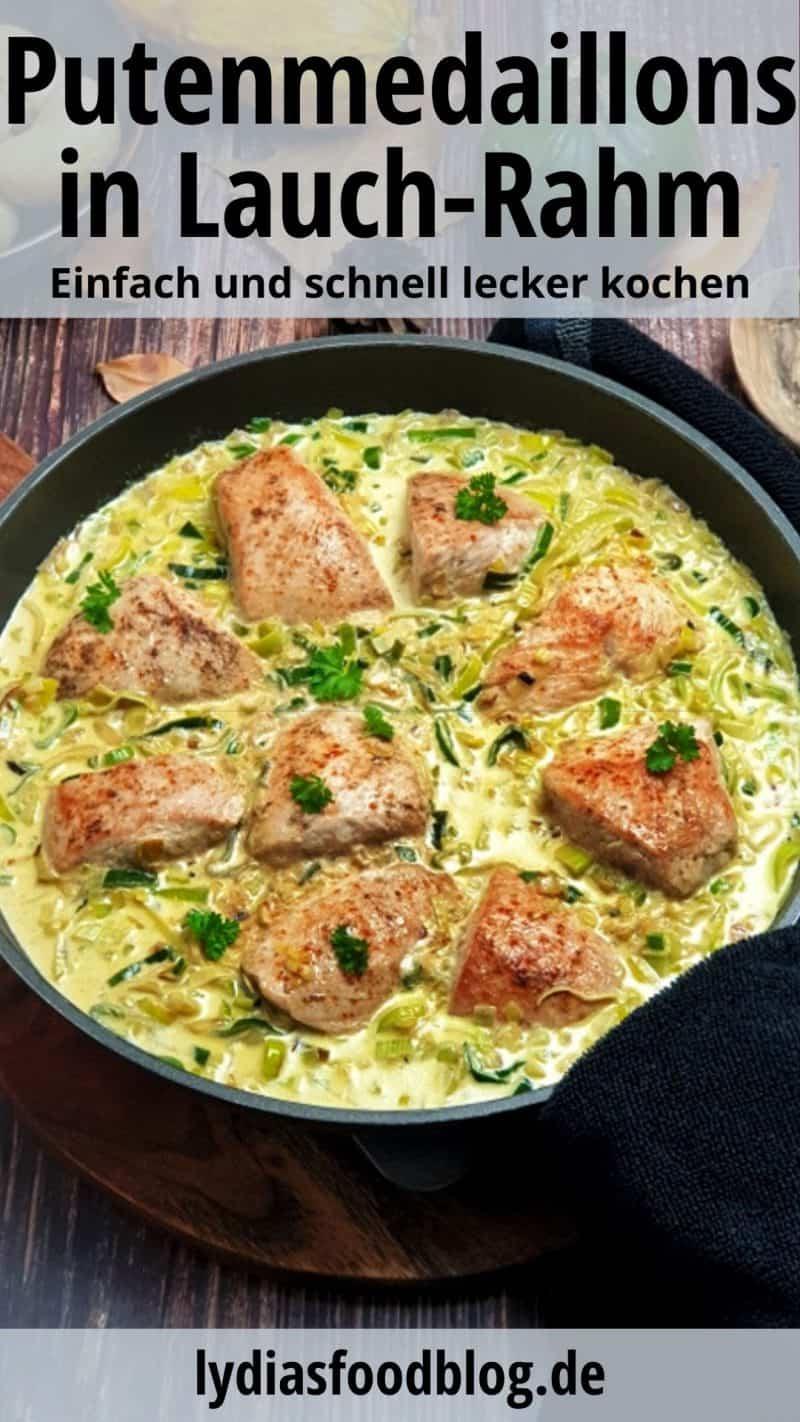 In einer schwarzen Pfanne gekocht und serviert Puten Medaillons in Lauch-Rahm-Soße.