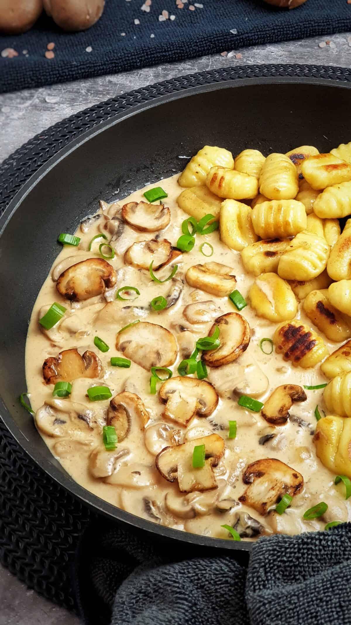 Gnocchi mit Champignons-Rahm-Soße in einer Pfanne angerichtet und mit Schnittlauch bestreut.