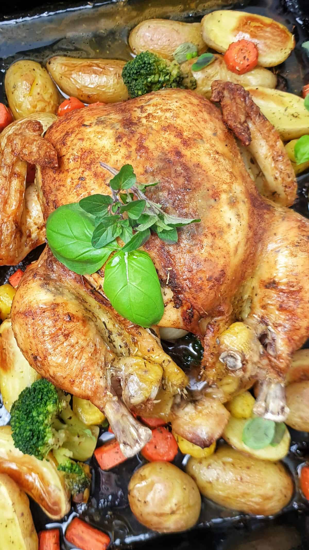 Auf einem schwarzen Backblech ganzes Hähnchen / Poularde aus dem Ofen auf Gemüse und Kartoffeln.