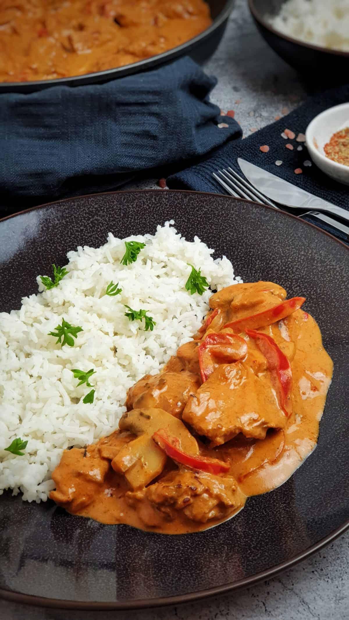 Gyros in cremiger Metaxa Soße auf einem braunen Teller mit Reis angerichtet.