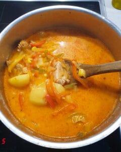 In einem Topf Suppe mit Fleisch, Kartoffeln und Paprika.