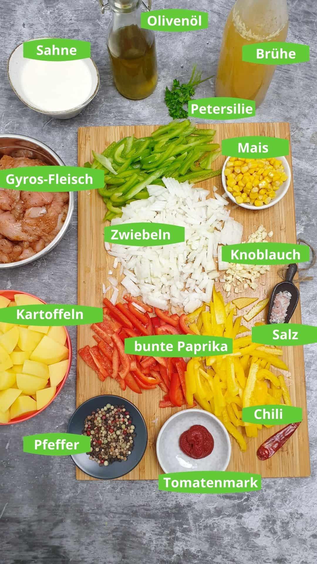 Zutaten für die Gyros-Suppe mit Beschriftung